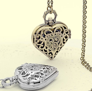 Fashion Silver Bronze Heart Shape Long Necklace Women Girl Vintage Quartz Pocket Watch Hollow Steampunk Mom Mother's Day Gifts