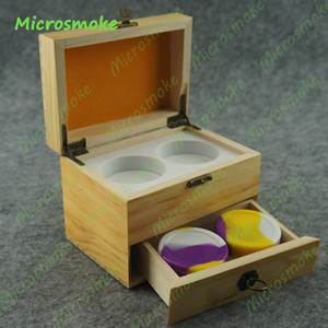 Wholesale Top Quality Two Layer Drawer Square Wooden and Bamboo jar Box Wax Oil BHO Container With Silicone Wax Jar 5pcs lot Free Shipping