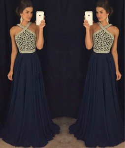 Wholesale Modest Halter Navy Blue Evening Dresses Chiffon Beaded Crystal Arabia Vestidos De Festa Long Party Dress Prom Formal Pageant Celebrity Gowns