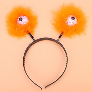 2018 New Women Girl Fluffy Feather Eyeball Headband Hair Band Hair Accessories Dress Decor Halloween Party Favor Gift