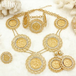 Wholesale whole saleItaly Fashion Dubai Gold Coin Big Jewelry Sets Charms Long Chain Accessories Women Wedding Necklace Earrings Bracelet Ring Set