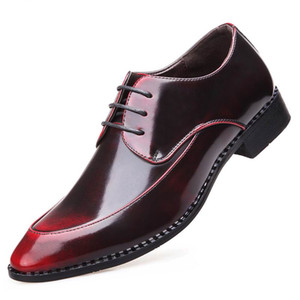 Wholesale New Designer Red Men Wedding Dress Shoes Fashion Pointed Toe Brush Color Lace Up Silver Party Leather Shoes Plus Size