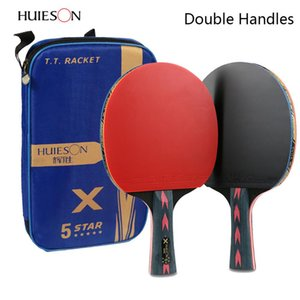 Wholesale 2pcs Upgraded 5 Star Carbon Table Tennis Racket Set Lightweight PowerfulPong Paddle Bat with Good Control