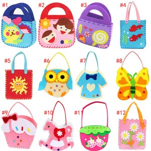 Wholesale DIY Applique Sewing Bag Kids Children Handmade Non woven Cloth Cartoon Animal Flower Bag Art Craft Christmas Gift Brain Develop