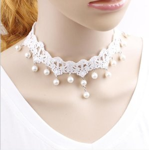 Wholesale Pearl White Lace Necklace bridal gown necklace fake collar collar chain