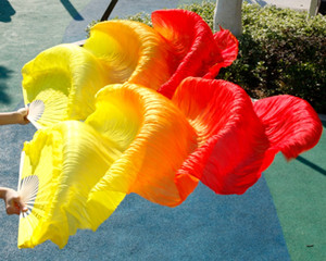 Wholesale 2016 female high quality Chinese silk veils dance fans Pair of belly dancing fans cheap hot sale Yellow orange Red
