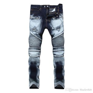 Wholesale Men Women Slim Stretch Jeans Hit The Zipper Hole Bicolor Mill White Trousers Mens Denim Pants Hip Hop Men Jeans