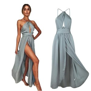 Sexy Simple Bohomian Bridesmaid Dresses Halter Side Slit High Split Beach Wedding Maid of Honor Gown Formal Evening Party Dress BM0231 on Sale