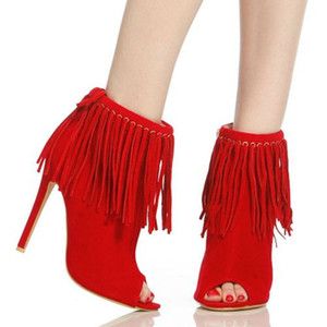 bottines à franges en cuir rouge achat en gros de-news_sitemap_homeNouveau Mode Femmes Peep Toe Rouge Orange Noir En Daim En Cuir Thin Talon Glands Court Gladiator Bottes Cheville Franges Talon Haut Bottines Bottines