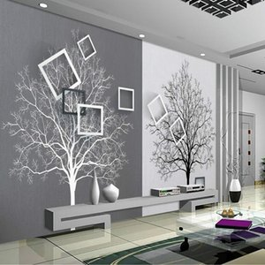 Wholesale 3d Wall Paper Rolls Wallpaper for Walls 3d Murals HD Black and White Tree Simple 3D TV Background Wallpapers Home Improvement