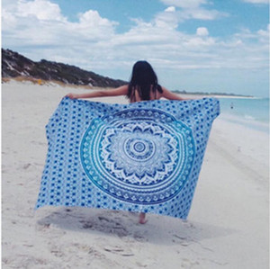 2020 Summer Beach Towel 150cm Mandala Square Yoga Mat Throw Tapestry Hippy Boho Chiffon Tablecloth Bikini Shawl Baby Blanket