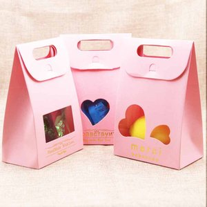 Wholesale Feiluan pc pink gold quot Merci quot Candy Bag French Thank You Wedding Favors Gift Box Package w heart window for nuts teas pack bag