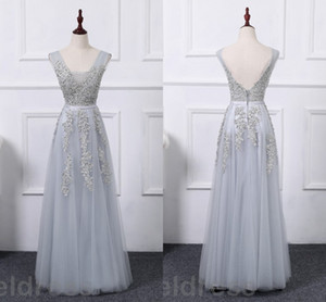 Wholesale Sexy Gray Bridesmaid Dresses V Neck Backless Appliques Beaded Floor Length Long Wedding Guest Gowns Maid Of The Gowns Arabic