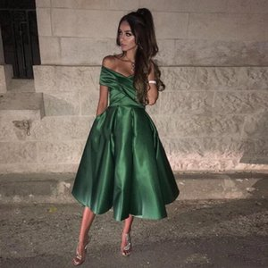 Wholesale 2019 Elegant Dark Green Short Prom Dresses Off Shoulder Ruched Elastic Satin Tea Length Puffy Short Homecoming Dresses Cocktail Party Dress