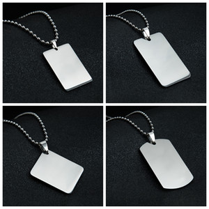 Blank Pendant Necklace Stainless Steel Dog Tag Heart Oval Shield Rectangle Shape Mirror Polish for Laser Engraving DIY Necklaces Wholesale