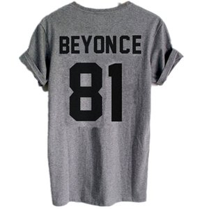 Wholesale BEYONCE print on back side Tshirt Beyonce year of birth Graphic TEE Sexy Women Casual Funny Shirt LW