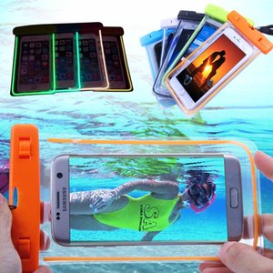 fluorescence PVC Waterproof Phone Case Cover for Cell Phone Touchscreen Mobile iphone 6 Water Proof Underwater Transparent Pouch Bag Q0546