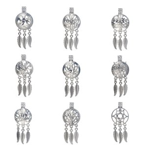 Wholesale bead cages pendants for sale - Group buy 6pcs Silver styles Dreamcatcher Pearl Cage Jewelry Making Bead Cage Pendant Essential Oil Diffuser Locket For Oyster Pearl