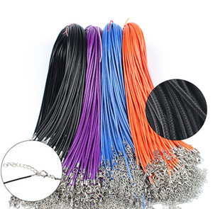 Wholesale 100pcs mm Black Leather Cord Wax Rope Chain Necklace cm cm Extender Chain Lobster Clasp chain for DIY Jewelry Accessories