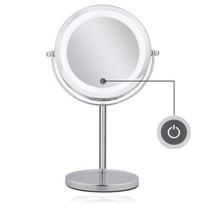 Wholesale LED Lighted Makeup Vanity Mirror Double Sided X magnifying pocket mirror Brightness Adjustable Touch Screen Make Up