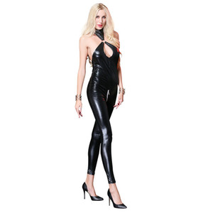 Wholesale Black PU Teddy Lingerie Leather Bodysuit Faux Latex Zipper Crotch Catsuit Costume Sexy Wet Look Jumpsuit for Women