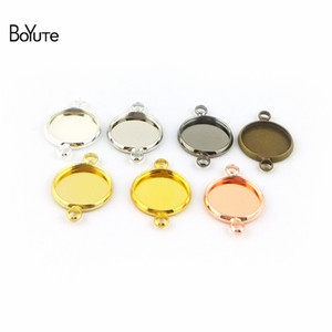 BoYuTe 50Pcs Round 10-12-14-16-18-20-25MM Cameo Cabochon Base Setting Diy Connector Charms Blank Tray Jewelry Findings (Silver Plated)