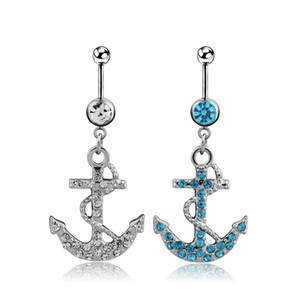Fashion Rhinestone Anchor Dangle Belly Button Ring Bar Surgical Piercing Sexy Body Jewelry Women Navel Piercing