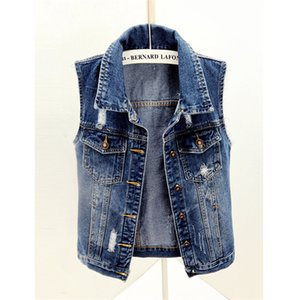 Wholesale Plus Size S XL Korean Slim Short Vest Fashion Single Breasted Sleeveless Basic Jacket Women Summer Sark Blue Jeans Denim Vest