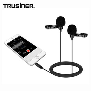 Wholesale High Quality Low Price Dual Head Collar Lavalier Clip Lapel Tie Recording Interview Microphone Mic For DSLR Camera Mobile Cell Phone