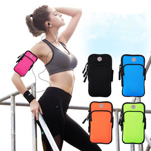 Wholesale mobile arm band cover pouch resale online - Sport Armband Case Zippered Fitness Running Arm Band Bag Pouch Jogging Workout Cover For Mobile Plus Smart Phone Bag
