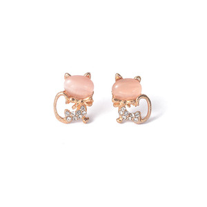 Wholesale Korean Popular Sweet Temperament Cute Wild Cat Opal Earrings Ear Studs Vintage Women Girls Jewelry Gift