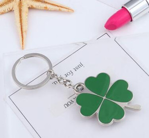 Wholesale High Quality Green Leaf Keychain Fashion Creative Beautiful Four Leaf Clover Steel Lucky Key Chain Jewelry Keyring