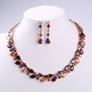 Wholesale Jewelry set environmental copper inlaid Zircon Necklace Earrings Set