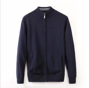 Wholesale new Men Leisure sweater luxurious brand embroidery sweater jacket high quality long sleeve coats Zip cardigan sweater Solid color shirt