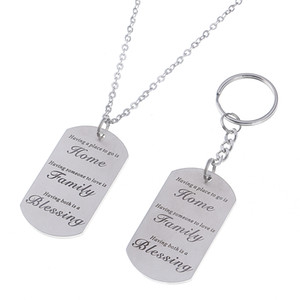 Wholesale Having some place to go is home Quotes Words Stamped Dog Tag Pendant Necklace Family Gift