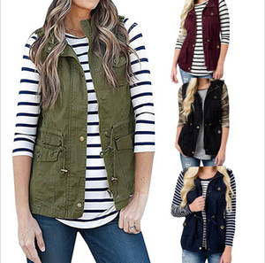 New Fashion Women's Vest Winter Coat Button cardigan 4 Colors Single Breasted Vests