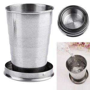 Wholesale Stainless Steel Folding Mugs Portable Outdoor Travel Camping Foldable Collapsible Cup ml Water Beer Drinkware Supplies