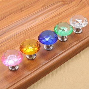 Wholesale Crystal Glass Door Pulls Diamond Shape Cupboard Drawer Pull Kitchen Cabinet Wardrobe Handles Door Hardware Furniture Accessory mm YW1241