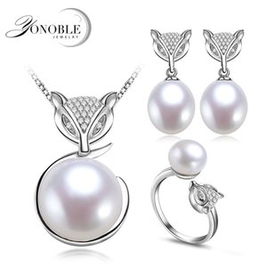 Wholesale Real FOX natural pearl jewelry sets for women silver sterling wedding natural pearl set pendant earring ring birthday gift