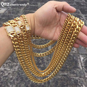Hip hop 10 14mm Men Cuban Miami Chain Necklace Stainless steel Rhinestone Clasp Iced Out Gold Silver casting Chain Necklaces