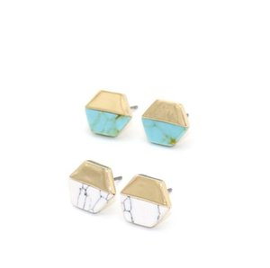Vintage Gold Color hexagon White Green Turquoise Marble earrings Natural Stone Stud Earrings Jewelry For Women