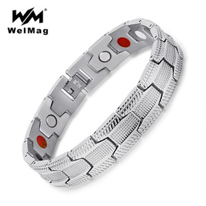 Wholesale WelMag Fashion Bracelet Men Magnetic Bio Energy Stainless Steel Wide Silver Cuff Bracelets Homme Healing Jewelry Christmas Gifts