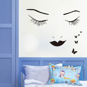 Wholesale New Style Removable Fashion Home Decor Vinyl Wall Art Decals Sticker Beauty Lashes Spa Salon Sticker Women Face Eyes Decal