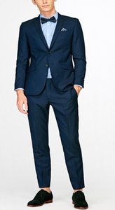 Wholesale British style men s slim fashion casual suit groom best man wedding dress young handsome piece jacket pants