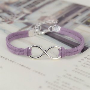 Wholesale Vintage Pendent Light Purple Leather Bracelets For Men Women Multiple Layer Big Infinity Braided Bangles Fashion Wristband Boyfriend Jewelry