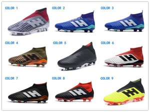 Wholesale 2018 Youth Girl Soccer Shoes Cheapest New Kids Mens Women Predator FG Soccer Cleats Children Football Boots Top Sales Boys Soccer Boots