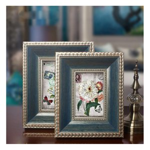 Wholesale Thick Solid Wood Photo Frame Flocking Material Moistureproof Back Board Europe Classic Style Table Wall Decoration Picture Frame