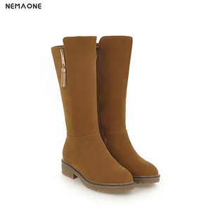 Wholesale NEMAONE Women thick low heels women boots rouned toe ladies mid calf boots party dress casual shoes woman black yellow beige