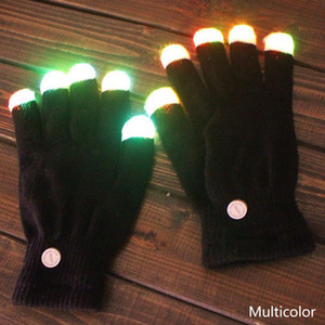 Wholesale Creative Colorful LED Finger Lighting Flashing Glow Mittens Gloves Rave Light Festive Event Party Supplies Luminous Cool Gloves