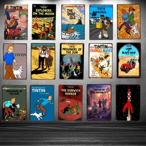 Wholesale Tintin Cartoon Movie Tin Sign Metal Plate Iron Painting Kids Room Wall Bar Coffee Home Art Craft Decor X20CM DU